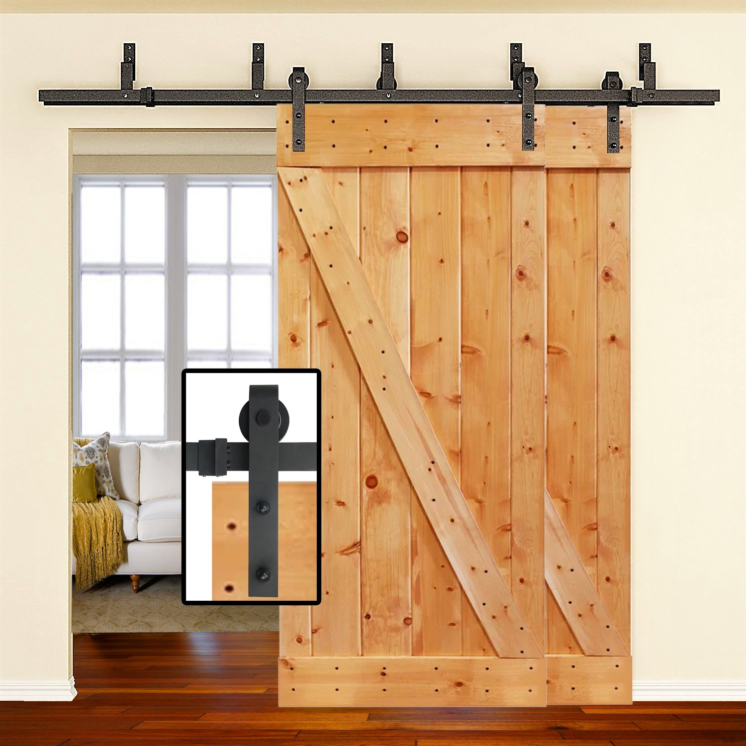 Amazoncom 66Ft Heavy Duty Bypass Double Door Sliding Barn Door