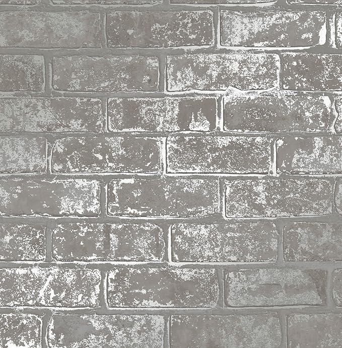 /Papel pintado color gris Fine D/écor fd41956/ dise/ño de ladrillos