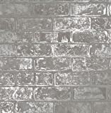 NEW LOFT BRICK GREY METALLIC WALLPAPER FD41956