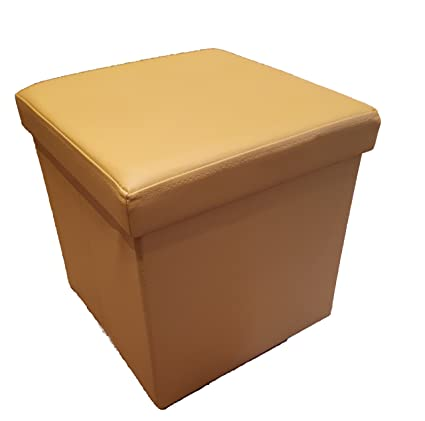 Remarkable Homeharmony Folding Storage Ottoman Seat Stool Toy Storage Box Faux Leather Yellow Medium Pdpeps Interior Chair Design Pdpepsorg