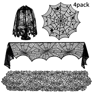 Boao 4 Pieces Halloween Decorations Sets, Halloween Tablecloth Spooky Bat Spiderweb Lace Rectangular Tablecloth, Round Lace Table Cover, Halloween Lamp Shades and Fireplace Scarf Cover (Style Set 1)