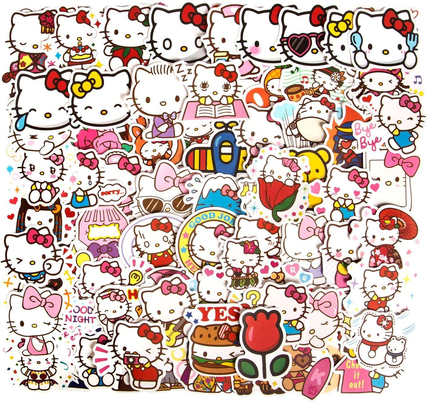 100pcs Hello Kitty Stickers Kawaii Stickers Vinyl Waterproof Stickers Cute Stickers for Kids Teens Laptop Stickers Water Bottle Stickers Computer Stickers for Guitar Computer Decal