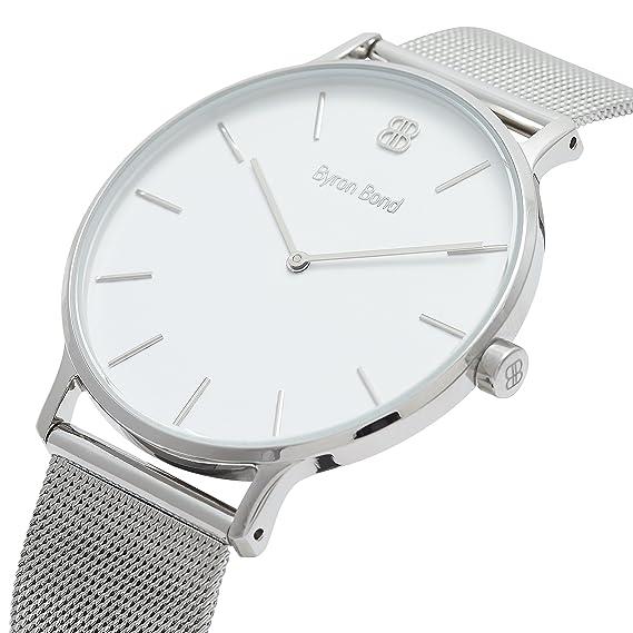 Reloj para Hombre de 41 mm - Reloj de Vestir de Acero Inoxidable Resistente al Agua Minimalista con Caja Ultrafina: Amazon.es: Relojes