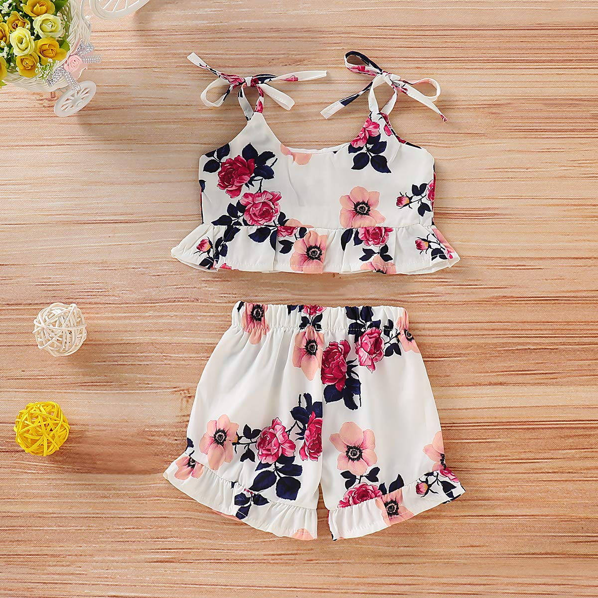 2bbac2a77b2 Amazon.com  Toddler Baby Girl Floral Halter Ruffled Outfits Set Strap Crop  Tops+Short Pants 2 PCS Clothes Set  Clothing
