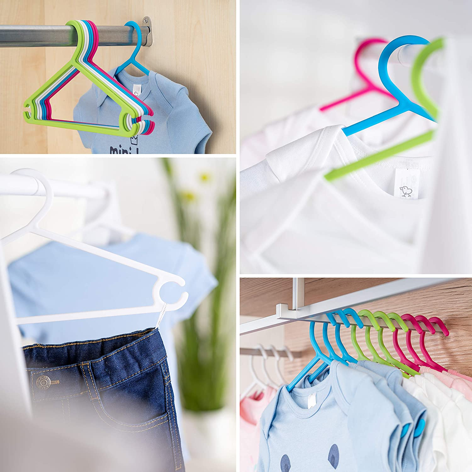 Ultra Thin Kids Coat Hangers for Baby /& Toddler Clothes LaLoona Children/'s Hangers 22 Pack Coloured Tubular