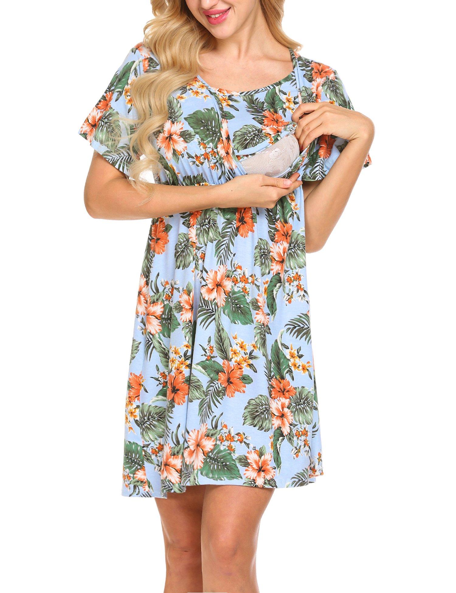 Pasttry Women's Floral Short Sleeve V Neck Maternity Nursing Dress for Beaches Mint Green M