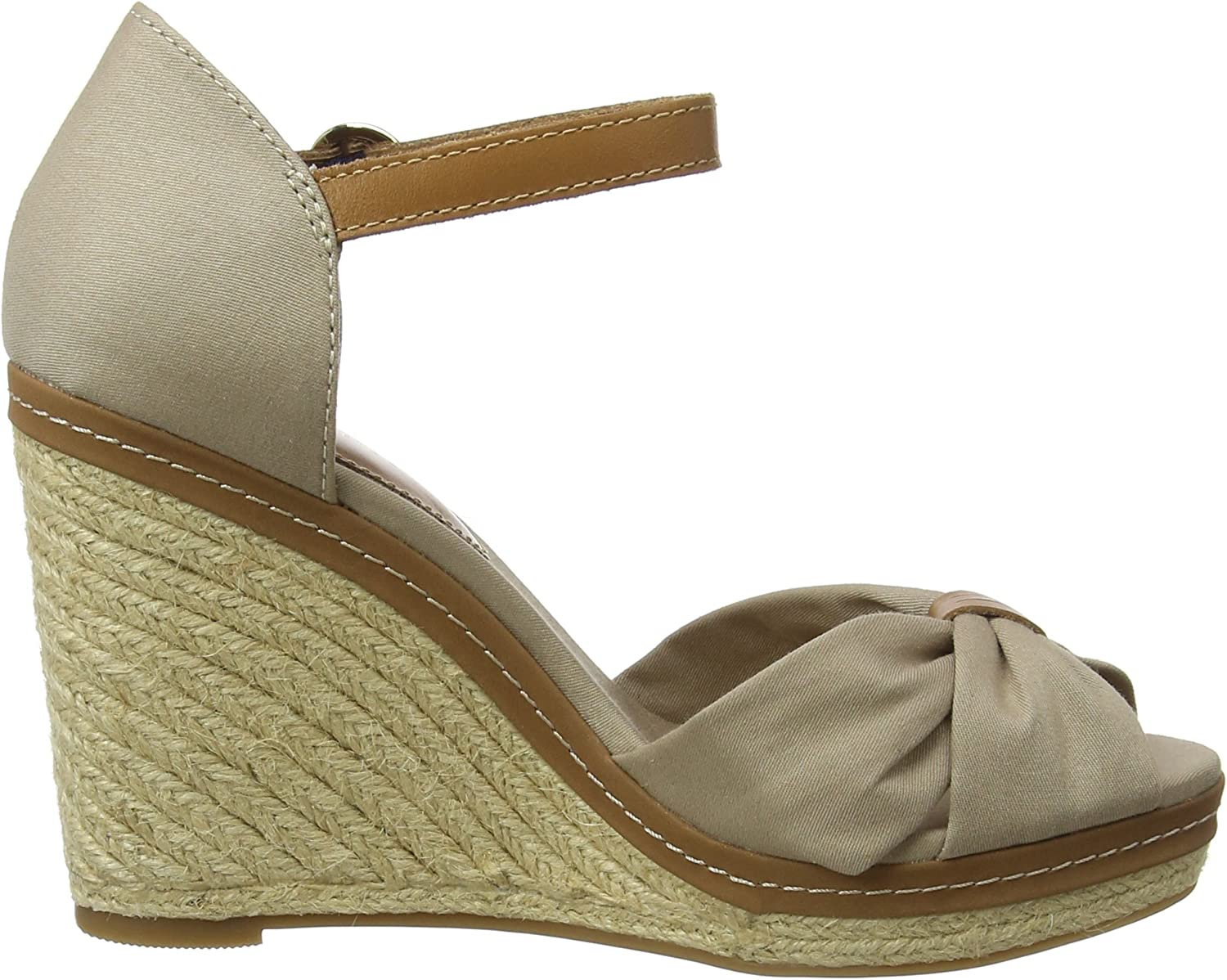 New Womens Tommy Hilfiger White Iconic Elba Coporate Ribbon Canvas Sandals