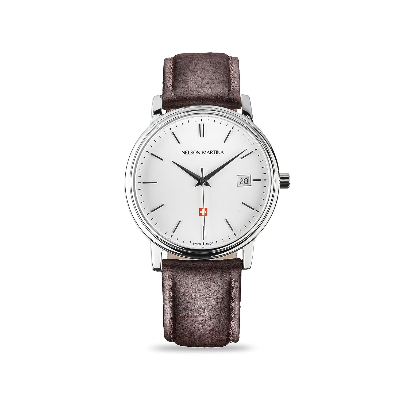 * Neu | Nelson Martina Classic Silver 307 | Saphirglas | Swiss Made