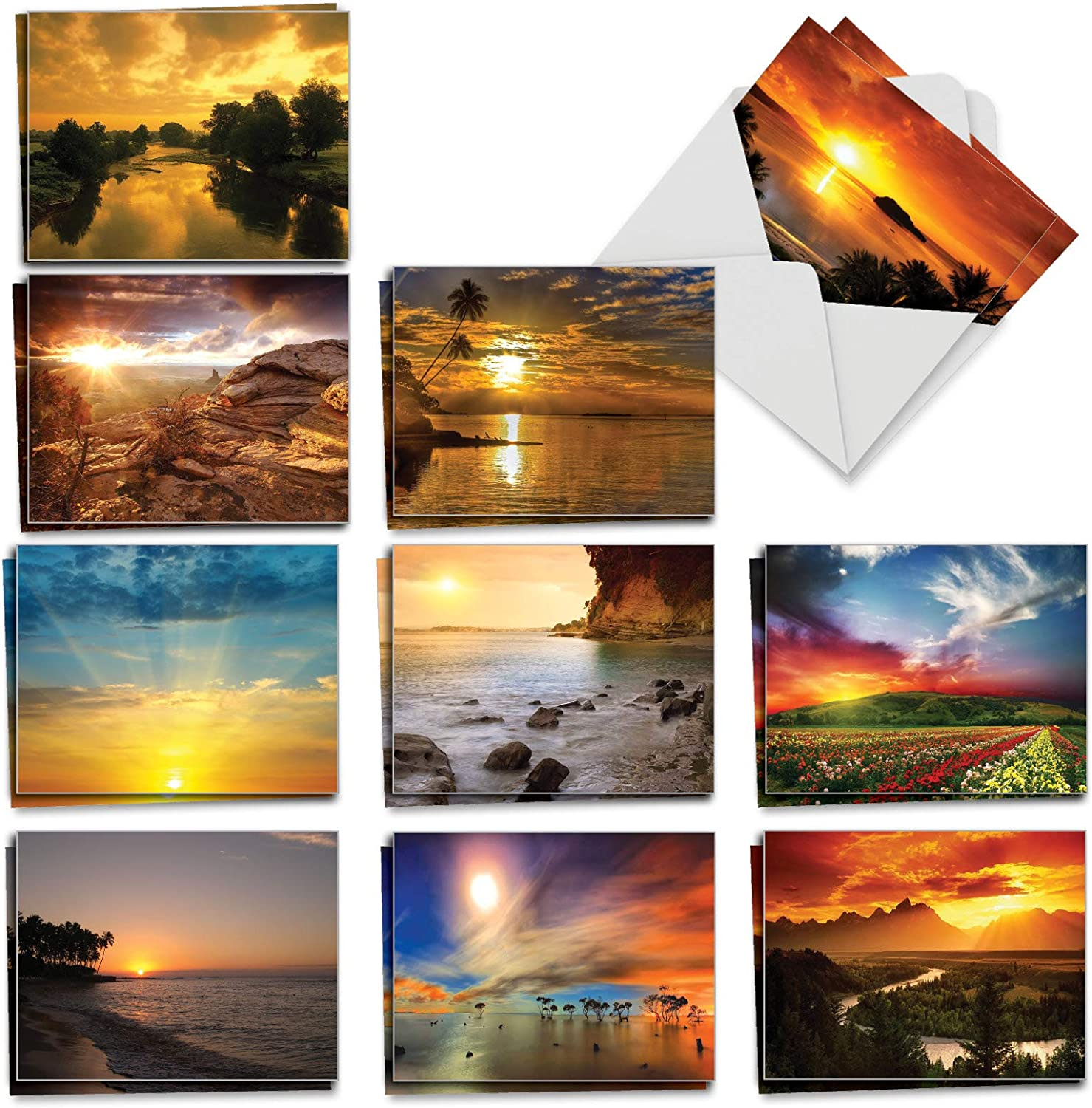 The Best Card Company - 20 Landscape Nature Note Cards Blank (4 x 5.12 Inch) (10 Designs, 2 Each) - Sun Settings AM1740OCB-B2x10