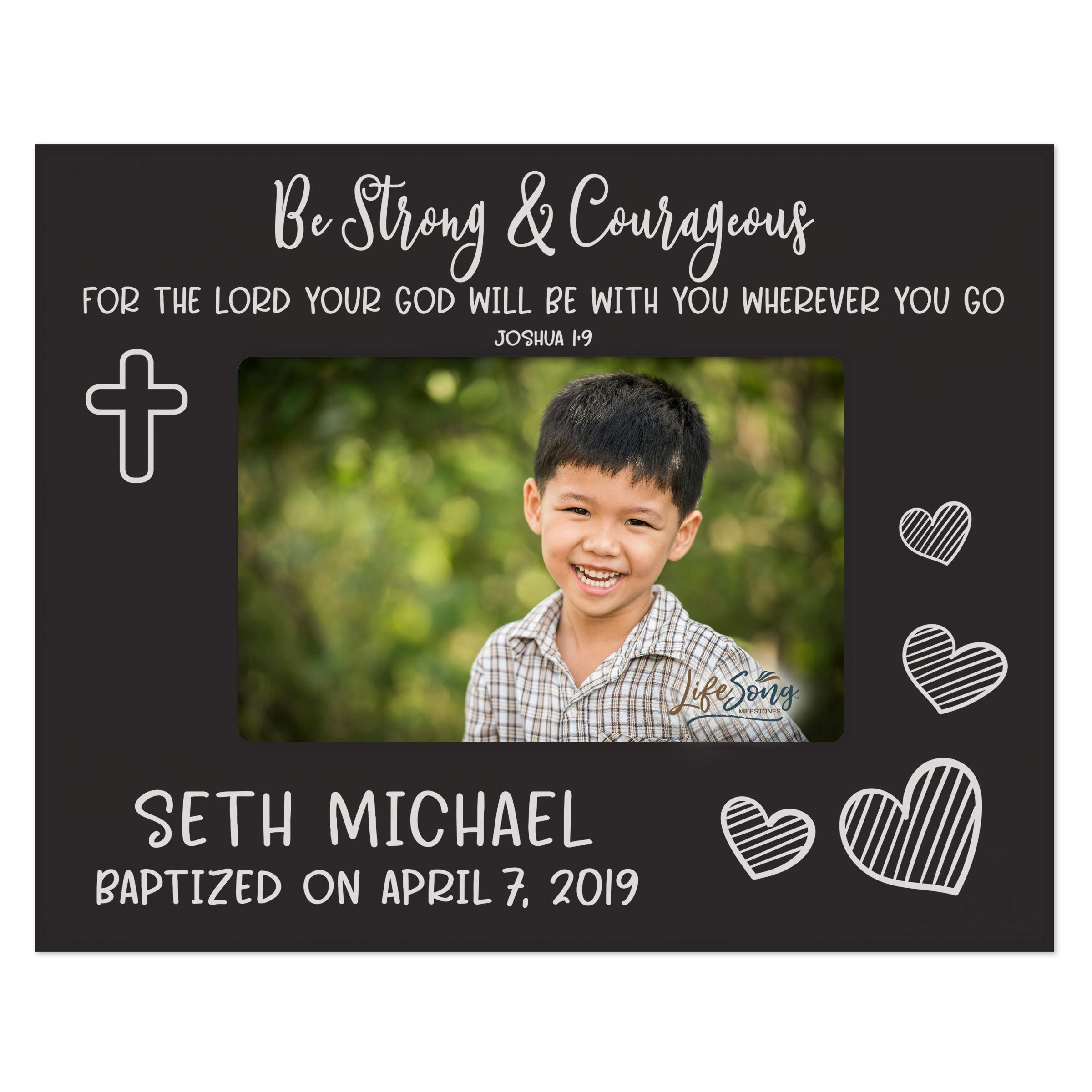LifeSong Milestones 1st Holy Communion Baptism Photo Frame Baby Baptism Gifts for Boys and Girls Blessing for Child 8'' x 10'' Picture Frame Holds 4'' x 6'' Photo - Strong & Courageous (Black)