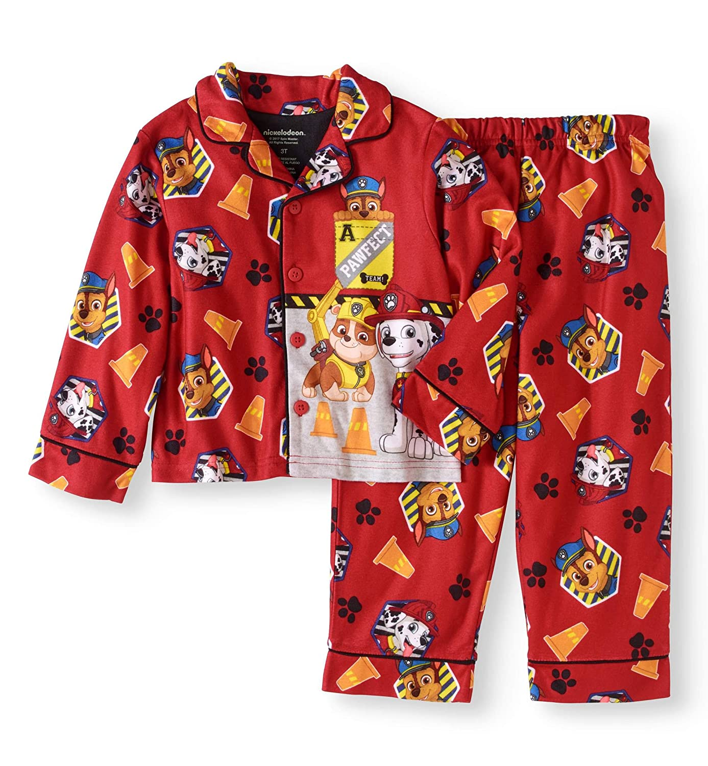 Nickelodeon Paw Patrol Boys 2 Piece Button Down Flannel Pajama Set