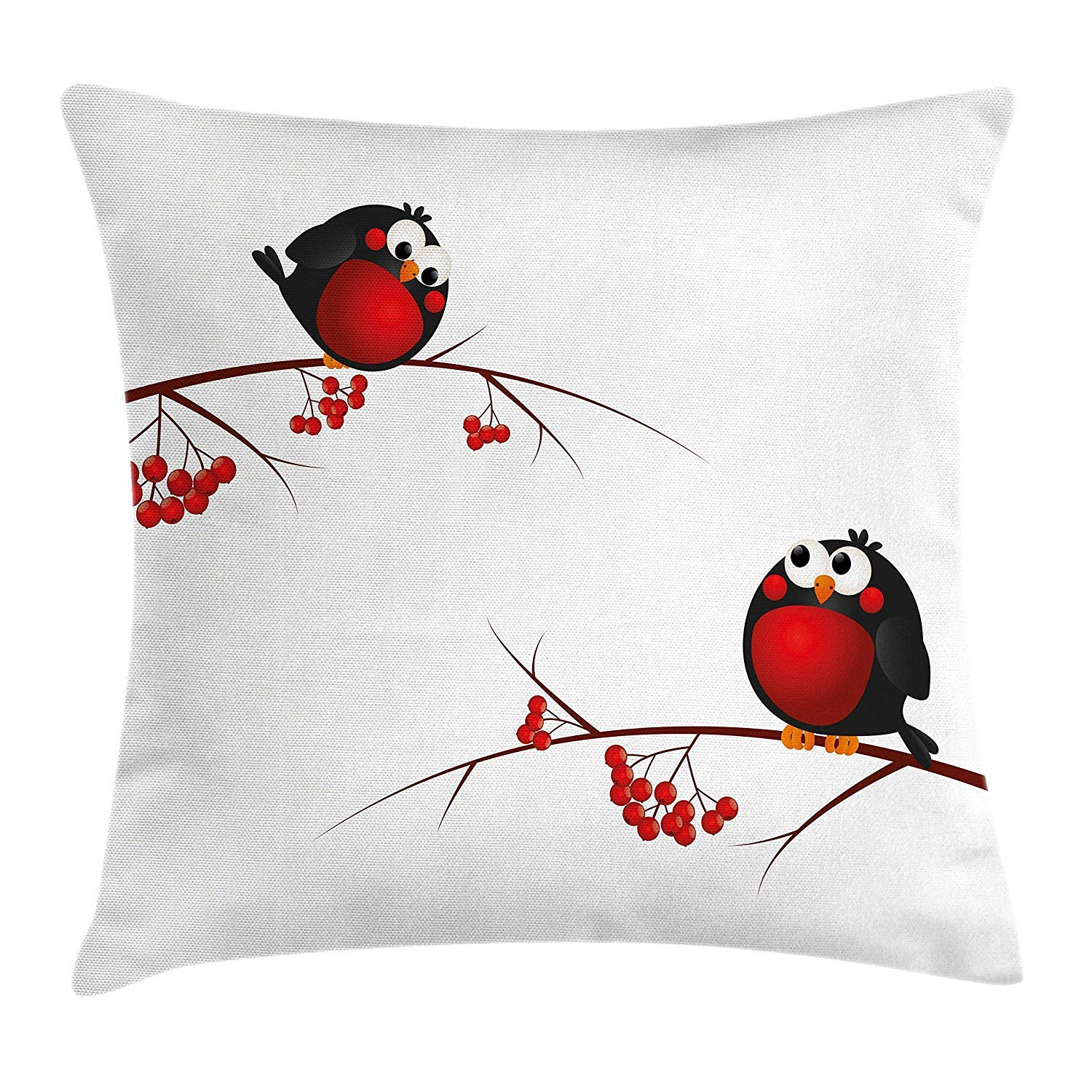 Rowan Throw Pillow Cushion Cover, Cute Kids Themed Cartoon Style Birds on Branches Funny Happy Christmas Design, Decorative Square Accent Pillow Case, 18 X 18 inches, Red Black White K0k2t0