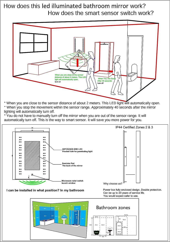 Amazon Com Flettern Illuminated Led Bathroom Mirror Radar Sensor Controlled Rectangular 70x50cm Kitchen Dining