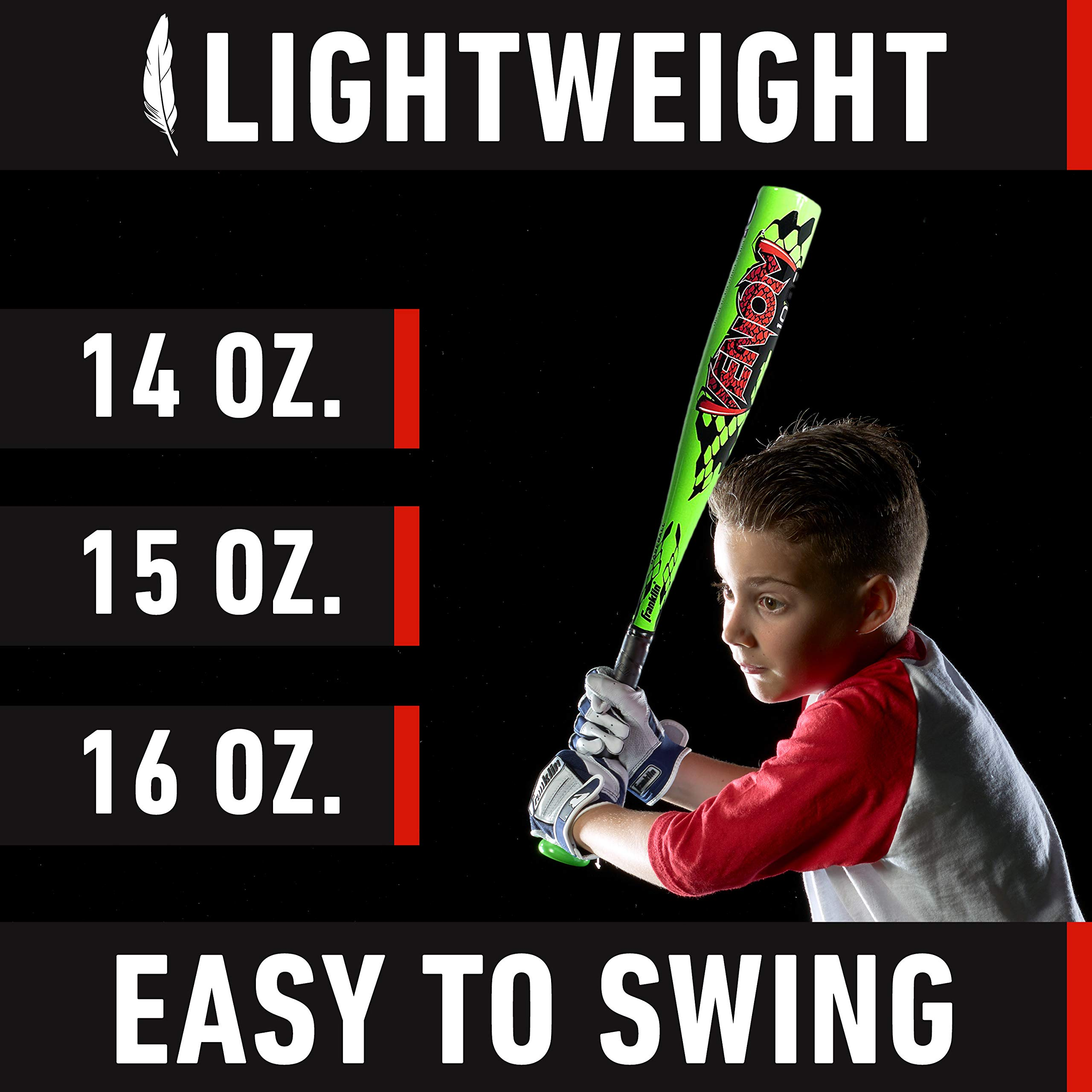 Franklin Sports Venom 1000 Official Teeball Bat - 26'' (-10) - Perfect for Youth Baseball and Teeball by Franklin Sports (Image #7)
