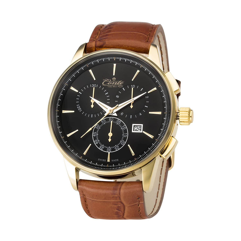 M.Conte Herren-Armbanduhr Chronograph Quarz Leder Braun Schwarz Swiss Made VIA-BL-BR-GRAVUR