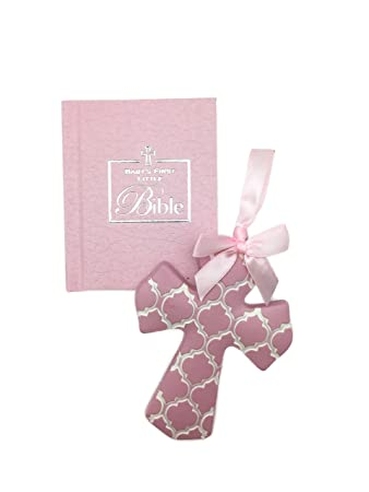 amazon com christening gifts for girls gift set pink cross for