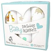 Muslin Swaddle Blankets | 100% Cotton Baby Blanket | Super Soft | Beautiful Premium Gift Box Set | 47 x 47 inches | 3 pack | Elephants, Giraffes & Geometric Shapes | Gender Neutral Unisex
