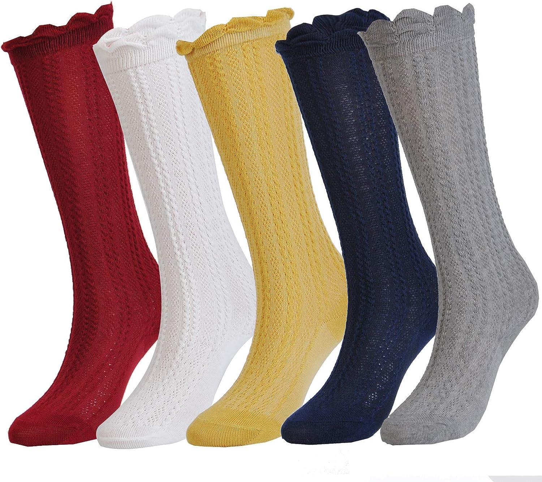 Epeius Baby Girls Boys Cotton Uniform Knee High Socks Tube Ruffled Stockings (Pack of 3/5): Clothing