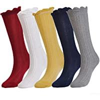 Epeius Baby Girls Boys Cotton Uniform Knee High Socks Tube Ruffled Stockings (Pack of 3/5)