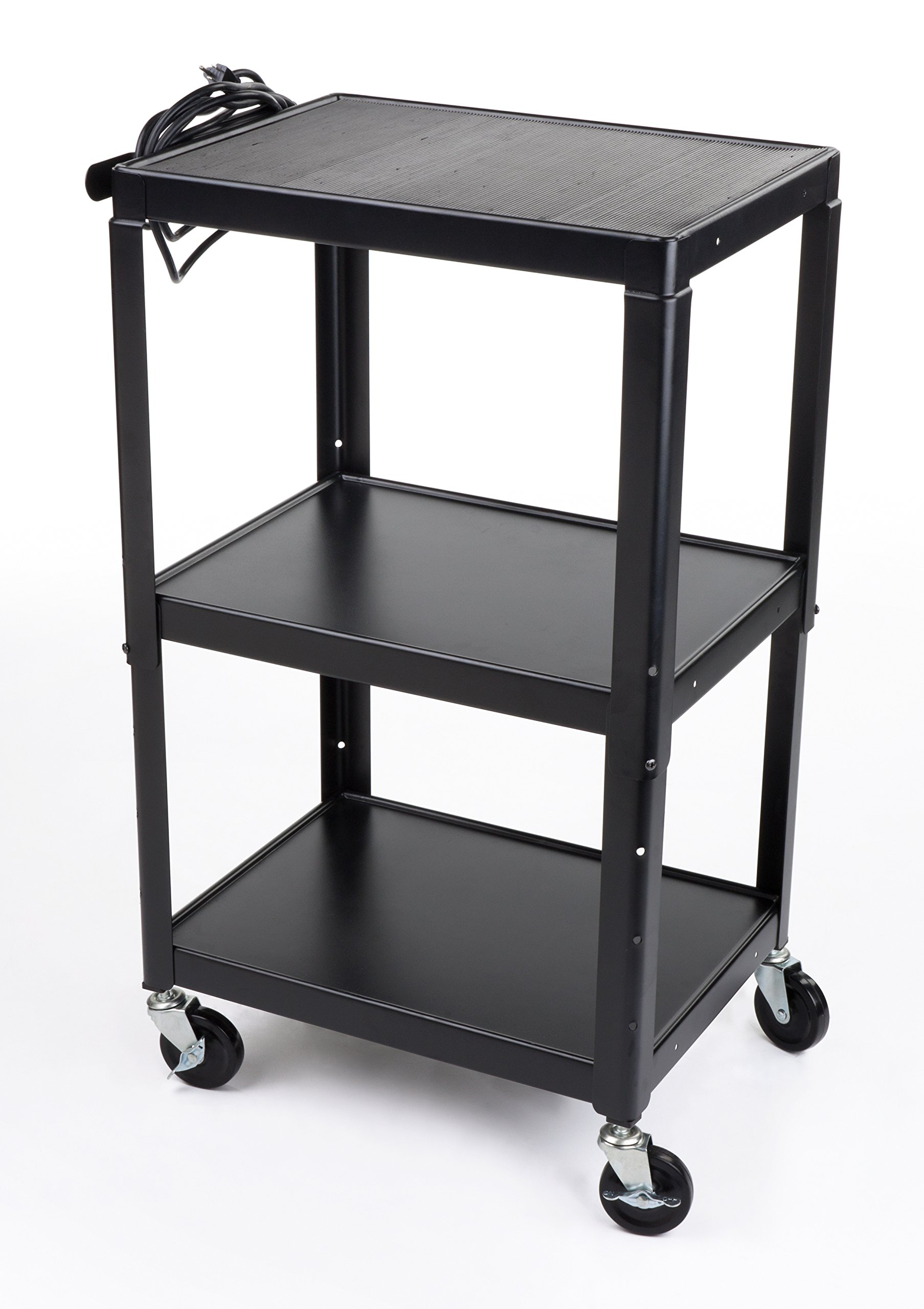 Displays2go AV Cart with Adjustable Shelf and Anti-Slip Pad, 4 Wheels and 4 Outlet Surge Protector, 24 x 43 x 18-Inch, Powder-Coated Black Steel (LMC3SA1) by Displays2go