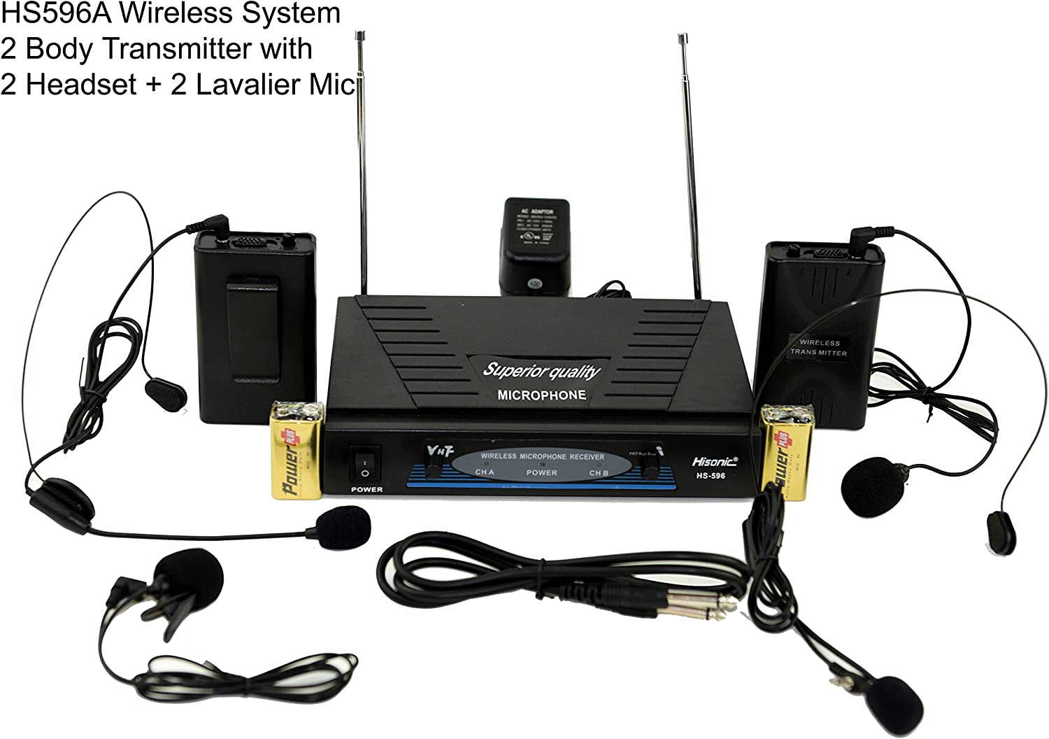 Hisonic Hs596A Dual Channel Wireless Microphone System With 2 Headsets & 2 Lapel Microphones, Vhf And Fcc Ceritified
