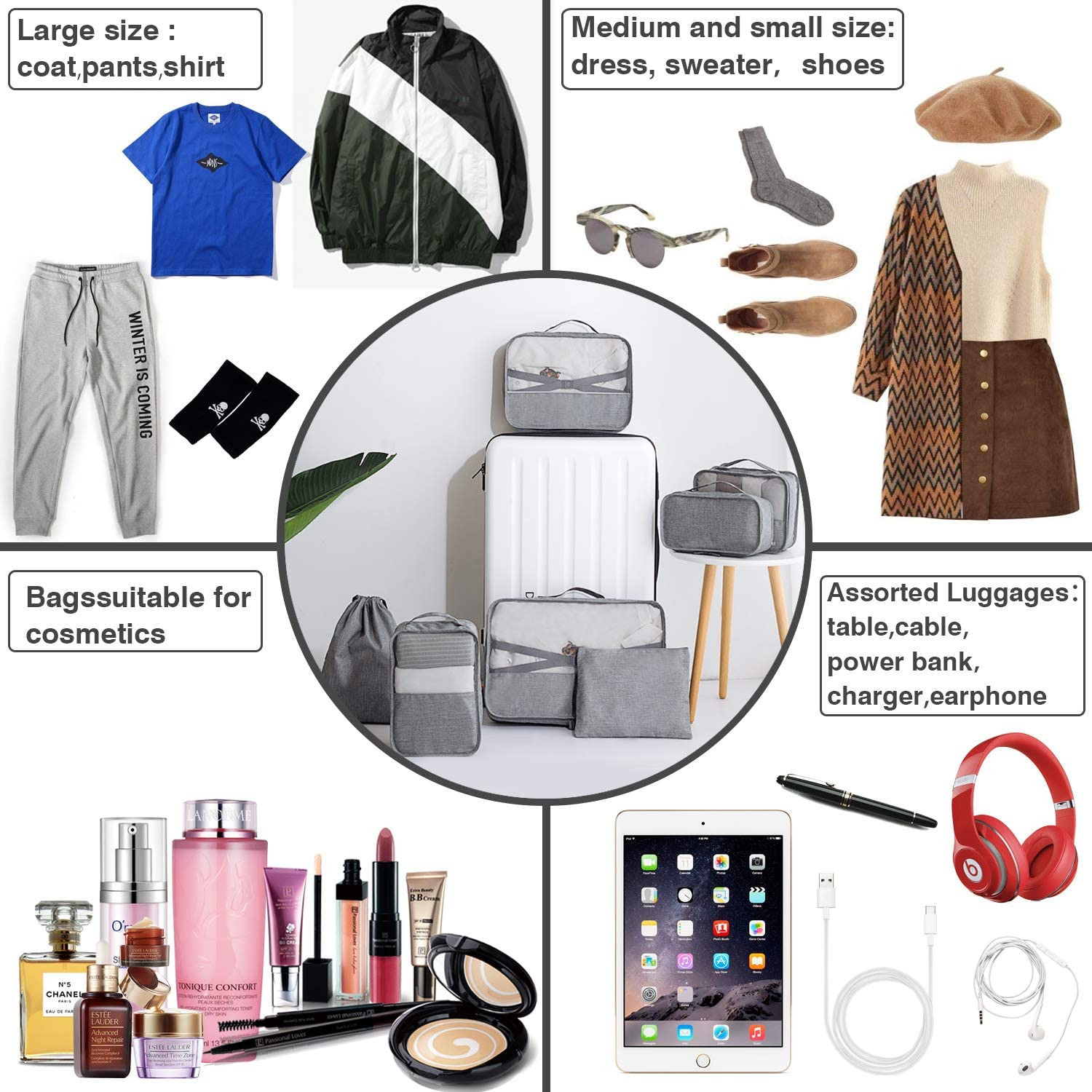 7 Piece Packing Cube Set Compression Travel Gear Weekender Luggage Organizer Waterproof Storage Laundry//Shoe Bag for Mens Womens