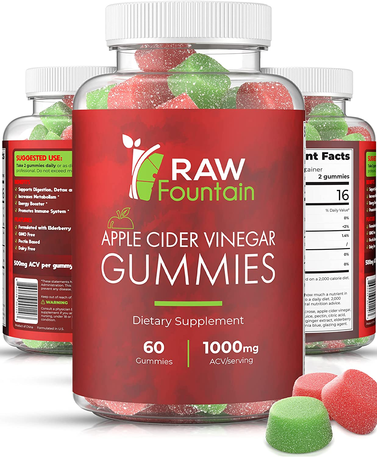 Raw Fountain Apple Cider Vinegar Gummies 1000mg, All Natural ACV Gummy Supplement with Elderberry, Ginger and Turmeric, Supports Immunity, Detox and Weight Loss, 60pcs