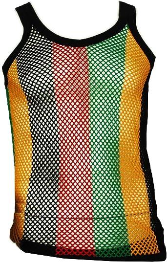 Reggae Rasta Jamaican String Vest Mesh Net Fishnet Gay Tank Top Boys Mens Shirt