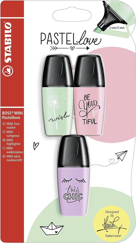 Resaltador – STABILO BOSS MINI Pastel Love – 3 Pack – Toque de Color Verde Menta, rosiges Rouge, brillo de color lila: Amazon.es: Oficina y papelería