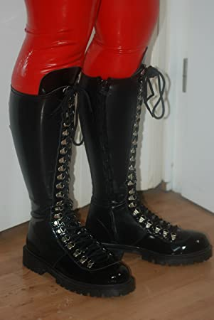 Boots Handgefertigt 39 Latex Größe Schwarz Stiefel Kniehoch nwN80ZOPkX