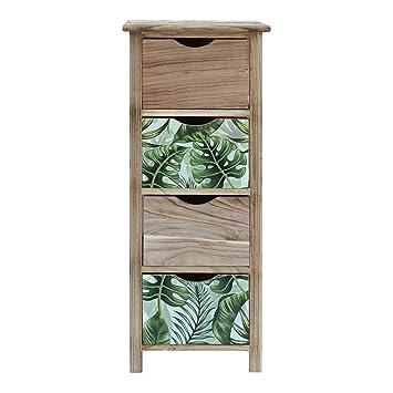 Rebecca Mobili Chiffonnier Commode 4 Tiroirs Bois Marron Vert Style ...