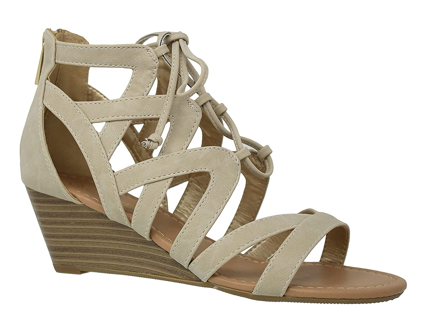 MVE Shoes Women's Casual Peep Toe Mid Heel Wedges - Cute Open Ankle Lace up Sandals - Fashion Design Cutout Wedges-Sandals B079C76534 8.5 B(M) US|Ice Nbpu*s