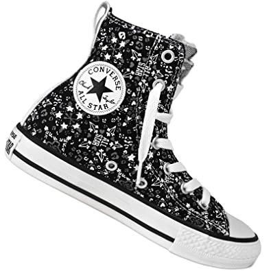 02020d287d01 Converse Chuck Taylor All Star Party Hi Black and White Girls High Tops  (JNR UK