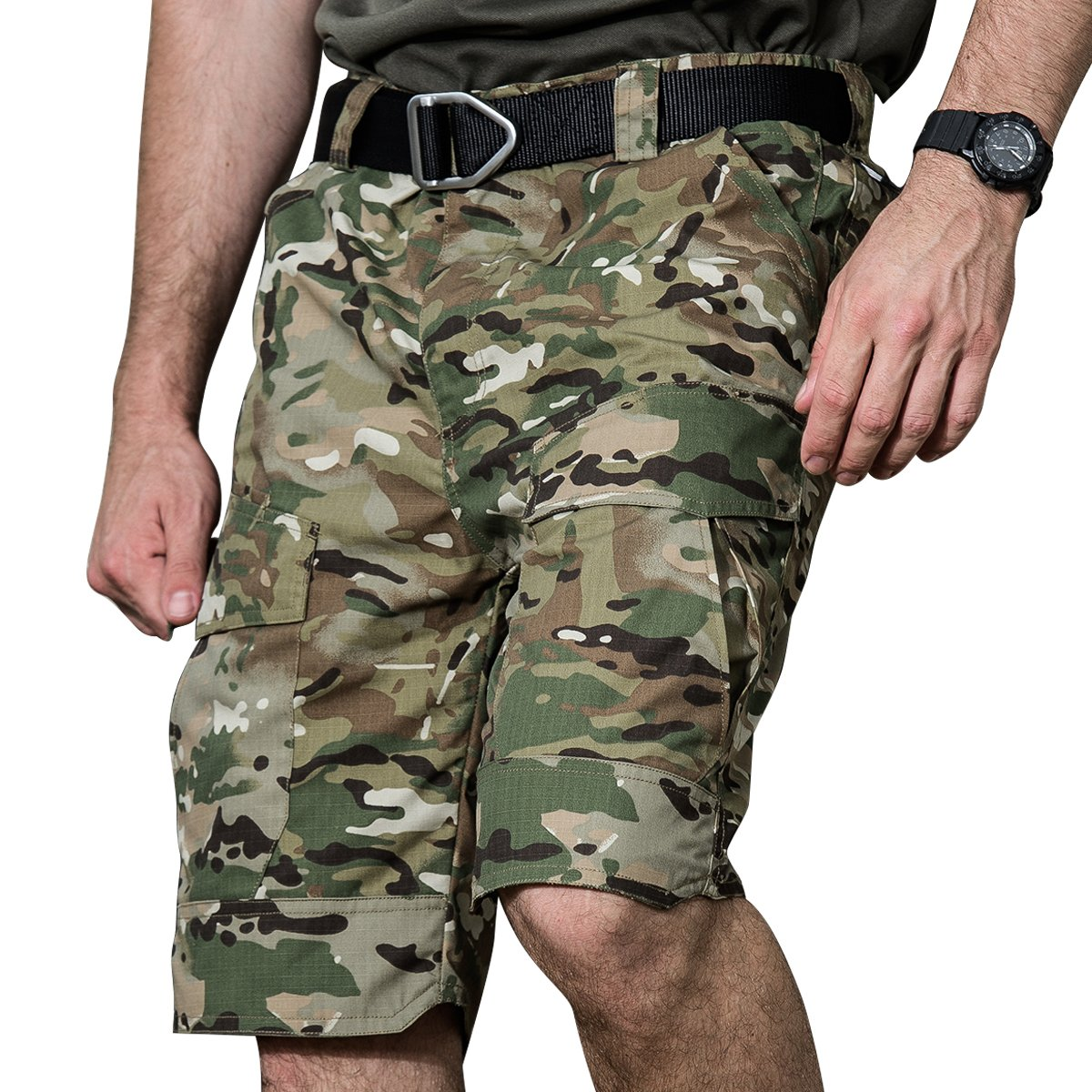 Mens Cargo Shorts Tactical Outdoor Work Hiking Military Army Construction Casual Waterproof Wear Multiple Pocket Loose Slim Fit Sports Mountain Fishing Baggy Running Farm Workout Pants (32, Camo)