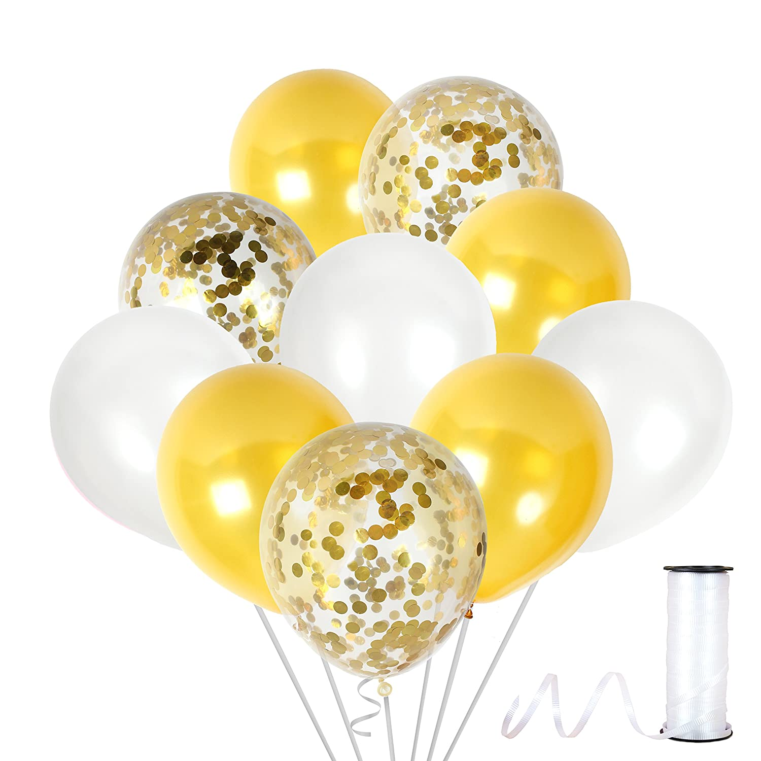 Amazon.com: Gold Latex Balloon + 12 Clear Gold Confetti Balloons ...