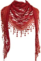 GFM Beautiful Designer Summer Triangle Scarf with Rose or Floral Pattern & Tassel & Lace
