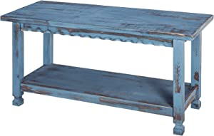 Rustic Cottage Bench with 1 Shelf, Blue Antique