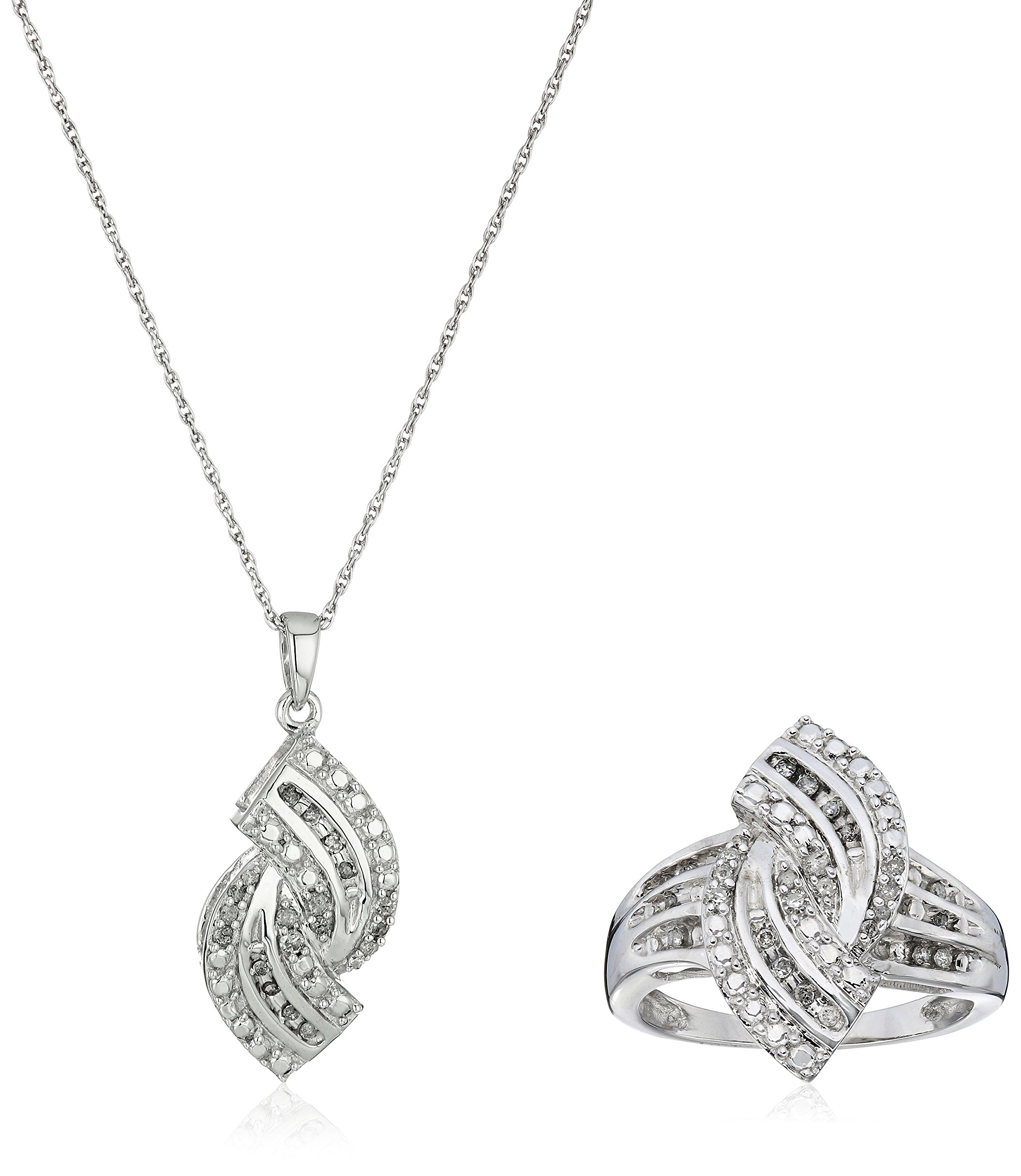 Sterling Silver Diamond Ring and Pendant Jewelry Set (1/4cttw, J-K Color, I3 Clarity)