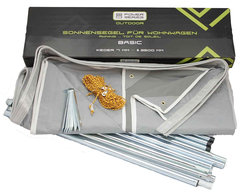 Powerseries® Wohnwagen Sonnensegel Sonnendach Vorzelt BASIC   Stahlgestänge   Tiefe 240cm   Breite 300cm - 800cm   Ideal für Caravan und Reisemobile
