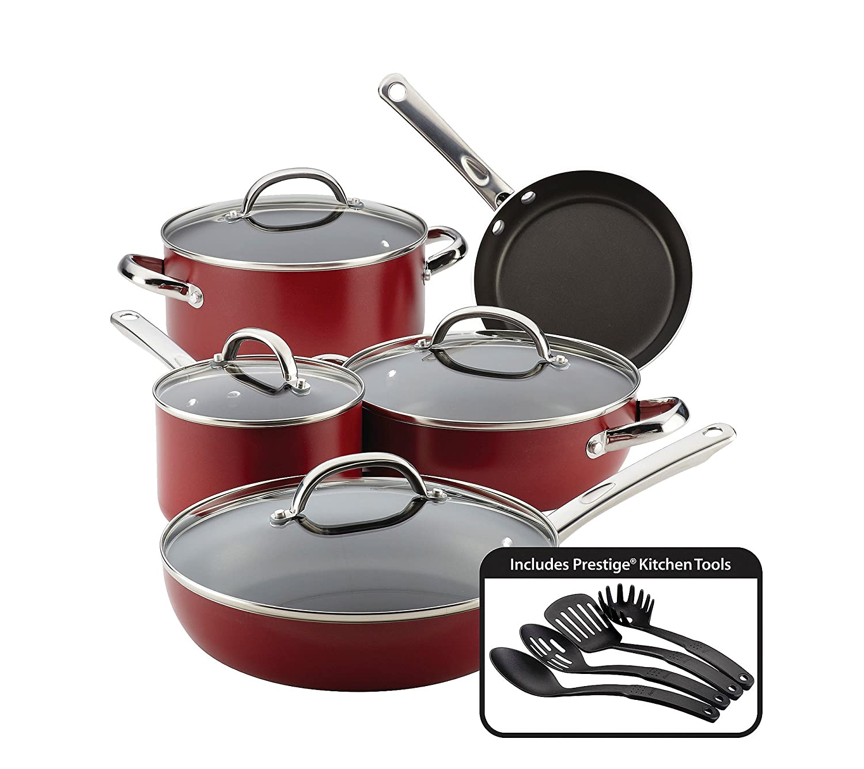 Farberware Buena Cocina Aluminum Nonstick Cookware Set, 13-Piece, Red