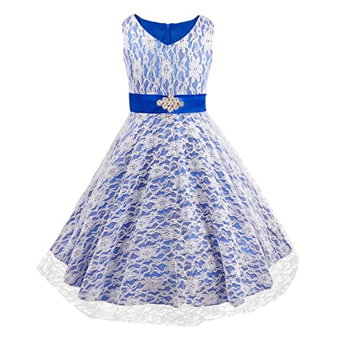 YiZYiF Lace Tulle Flower Girl Dresses Kid Sleeveless Wedding Formal Bridesmaid Party Princess Dress