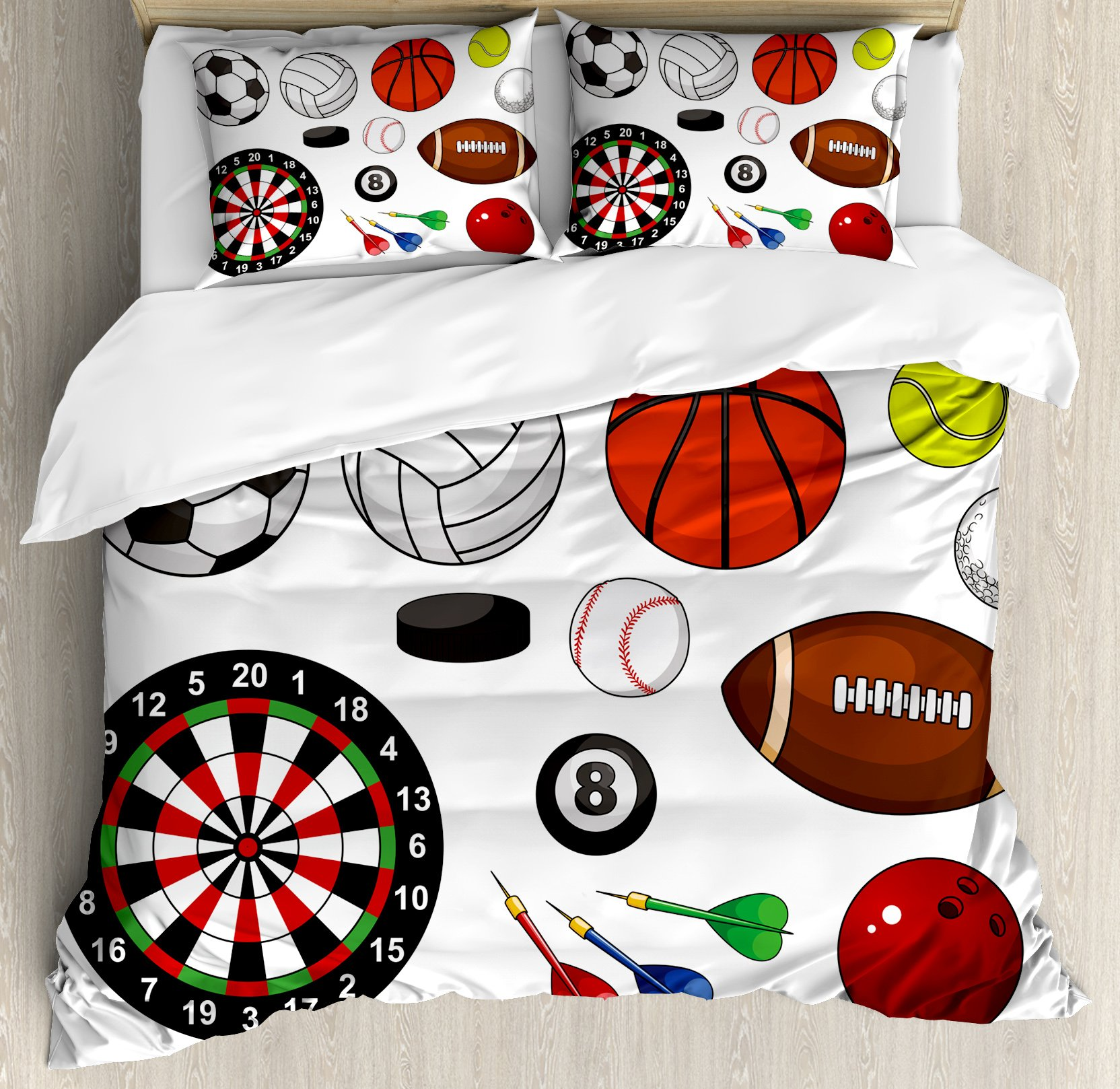 Boy's Room Duvet Cover Set King Size by Lunarable, Variety of Sports Icons Different Games Balls Dartboard Hockey Puck and Pins, Decorative 3 Piece Bedding Set with 2 Pillow Shams, Multicolor