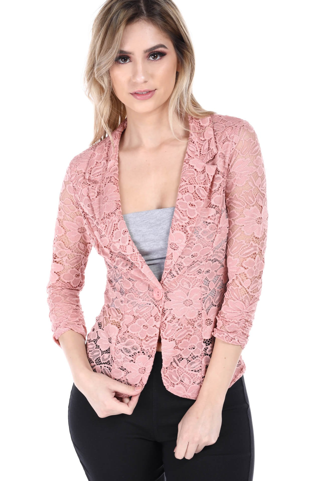 Fashion Magazine Womens One Button Office Knit Blazer Jacket,Made in USA  Pinklace,X-Large