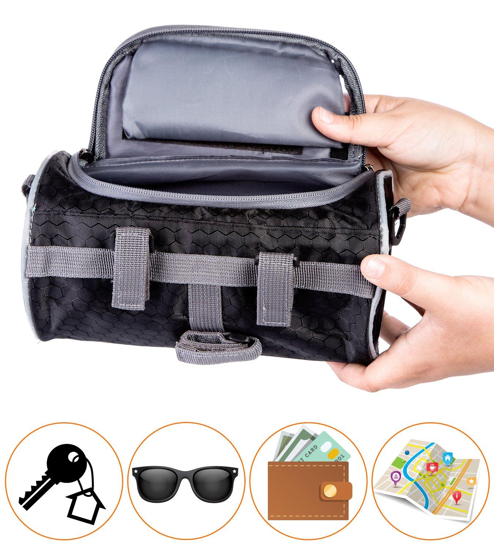 Boxiki travel Bicycle Handlebar Bag for Road Bikes, Mountain Bikes & Motorcycles. Bike Pannier Pouch w/Touchscreen Phone Holder. Waterproof Bike Frame Storage Bag Removable Shoulder Strap by Boxiki travel (Image #5)