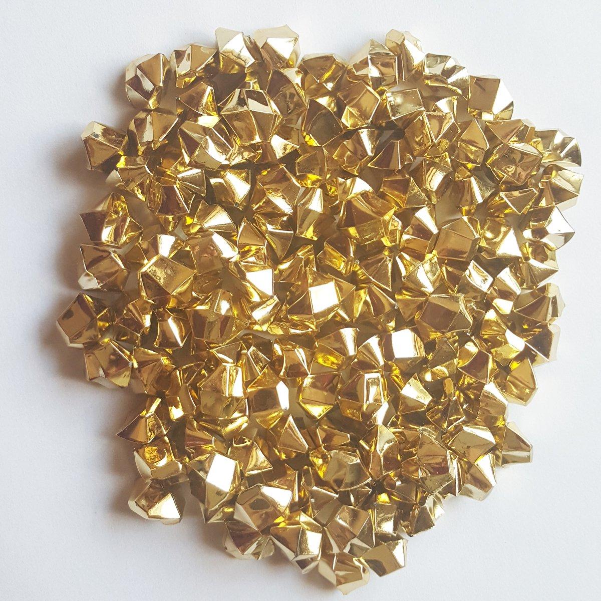 ElE&GANT 1LB(Approx 755Pcs) Plastic Metallic Gold Nuggets Table Scatter Decoration Vase Filler (Metallic Golden)