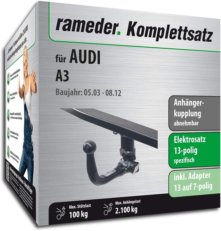Rameder Komplettsatz Anh/ängerkupplung abnehmbar 122571-04955-1 13pol Elektrik f/ür Audi A3