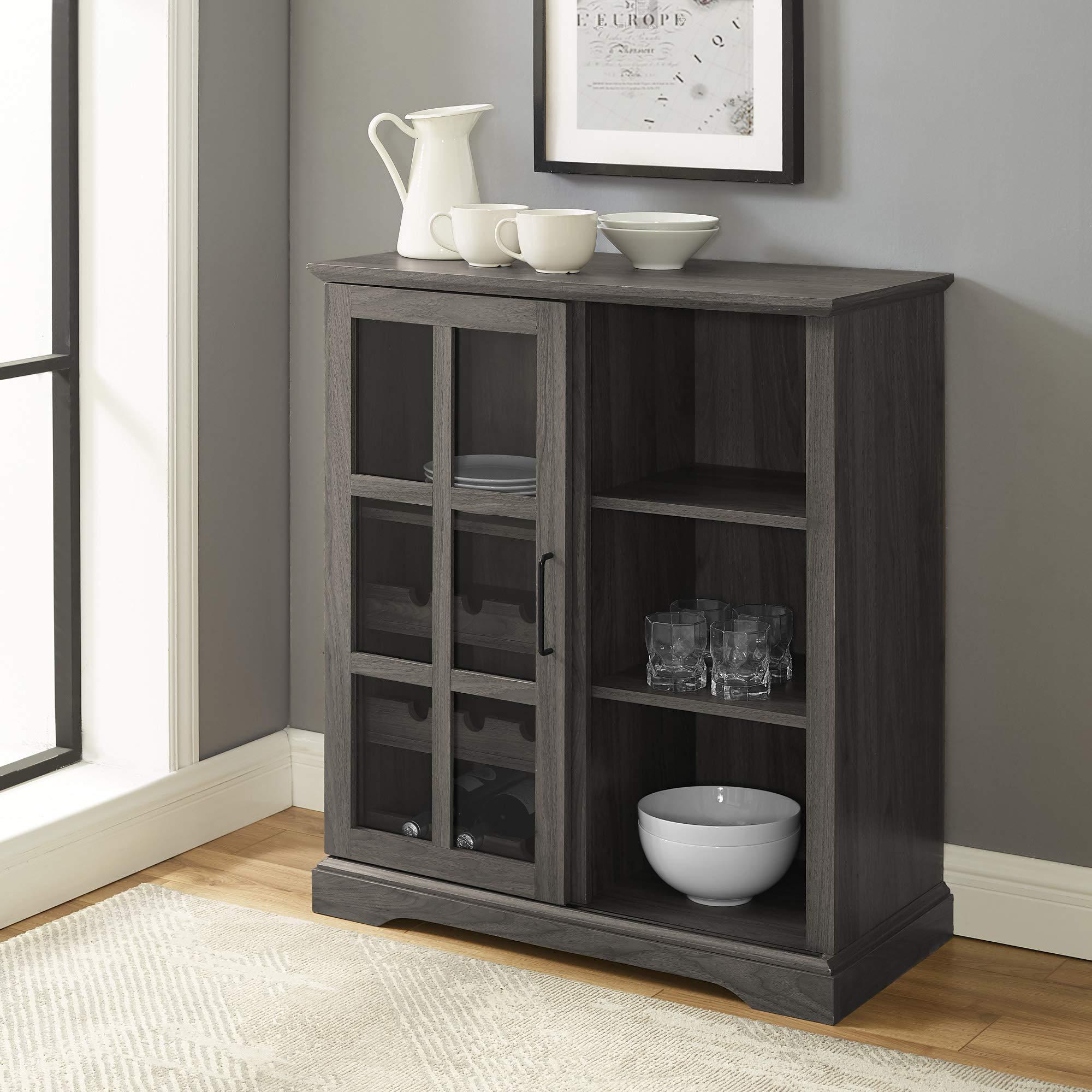 Walker Edison Wood Sliding Glass Bar Cabinet Entryway Serving Wine Storage Doors Dining Room Console, 36 Inch, Slate Grey