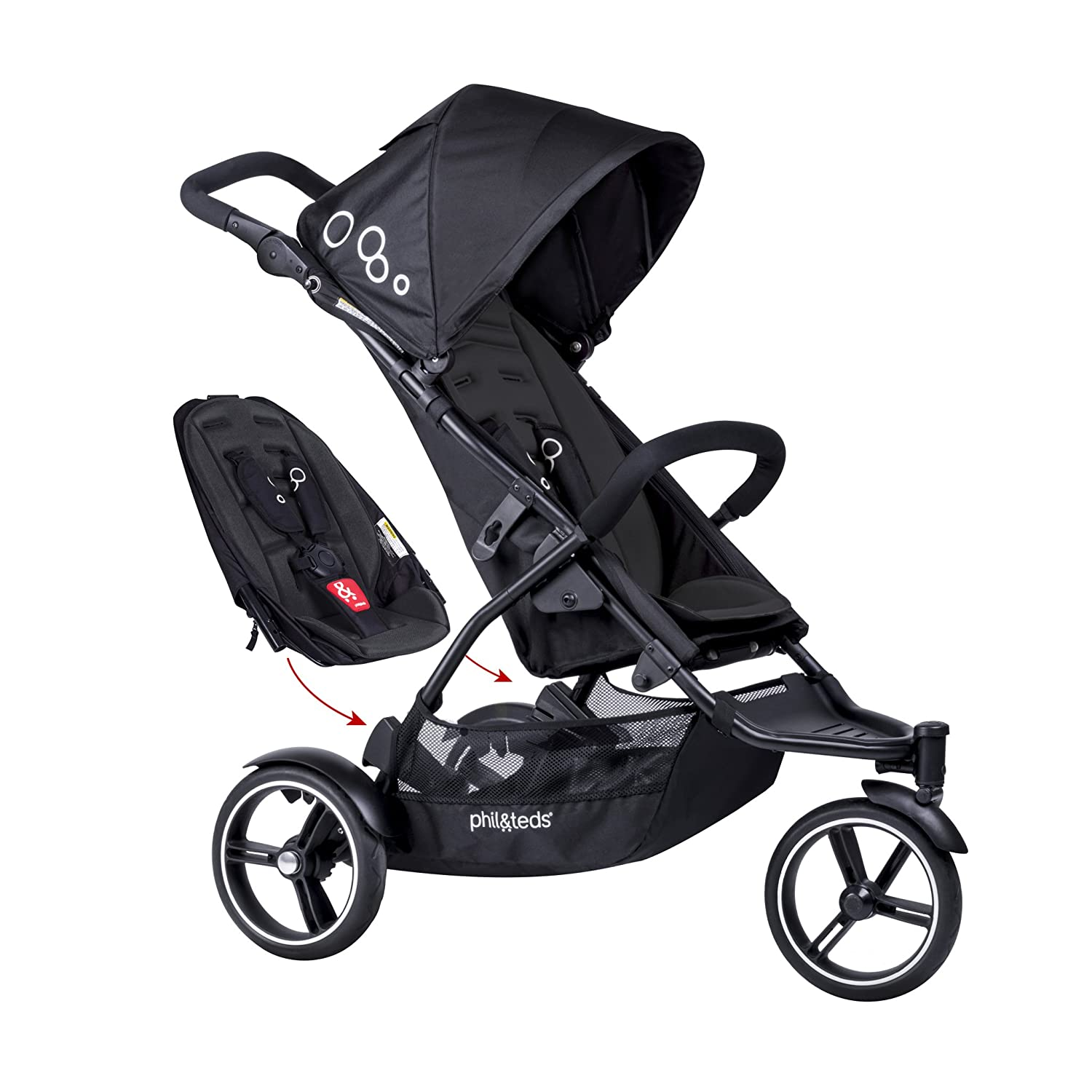 phil teds Dot Compact Inline City Stroller with Double Kit, Black Compact Frame with Full Size Seat Newborn Ready Parent Facing Seat Included Compact, One Hand Fold Puncture Proof Tires