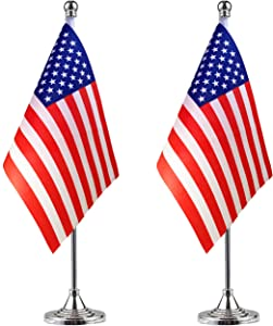 WEITBF USA American Desk Flag Small Mini US Table Flag with Stand Base,4th of July,Veterans Day,Memorial Day Office Table Decorations