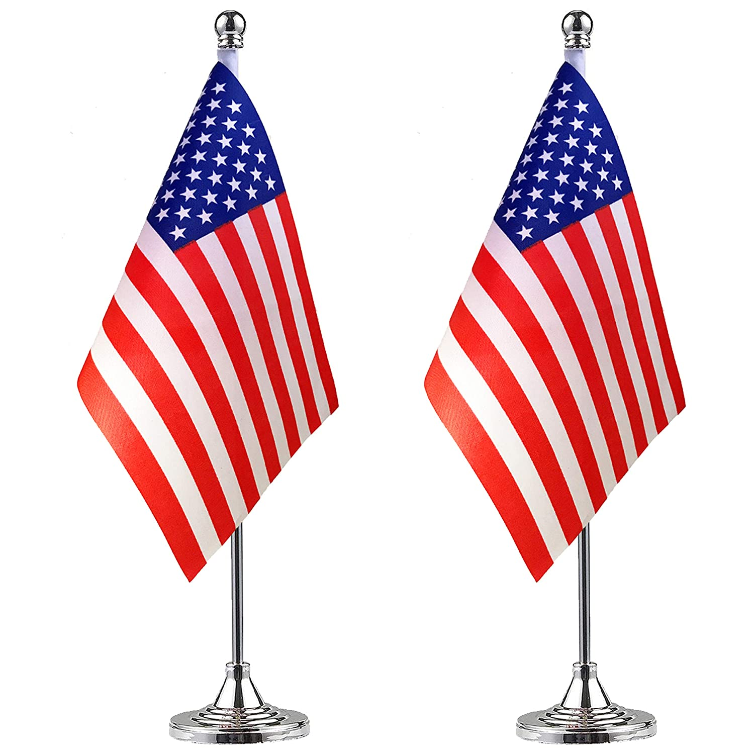 LoveVC USA American Desk Flag Small Mini US Office Table Flags with Stand Base,2 Pack